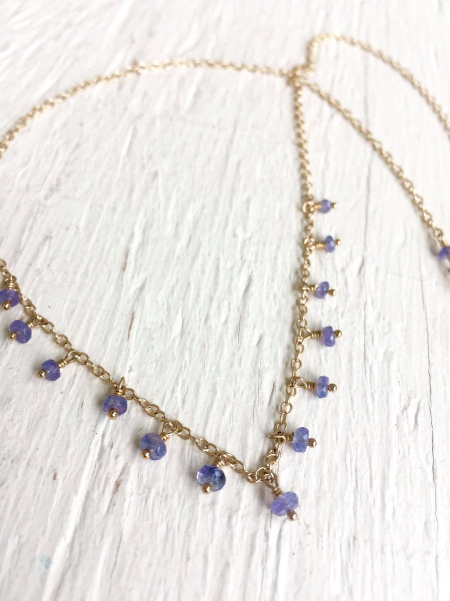 Dainty Tanzanite Necklace for Protection, Meditation and Spiritual Awareness December Birthstone