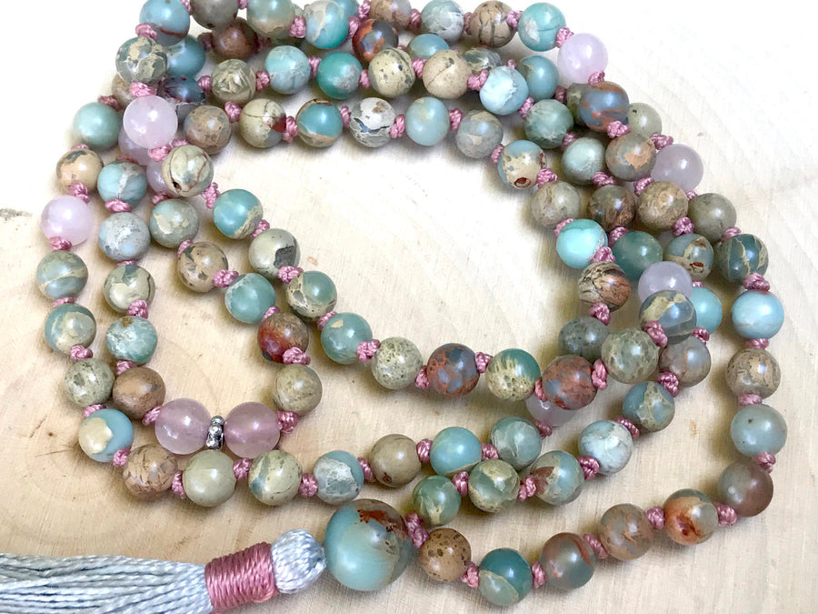 Mala Beads for Stress Relief, Strength, Unconditional Love and Happiness, African Opal and Rose Quartz Mala Beads