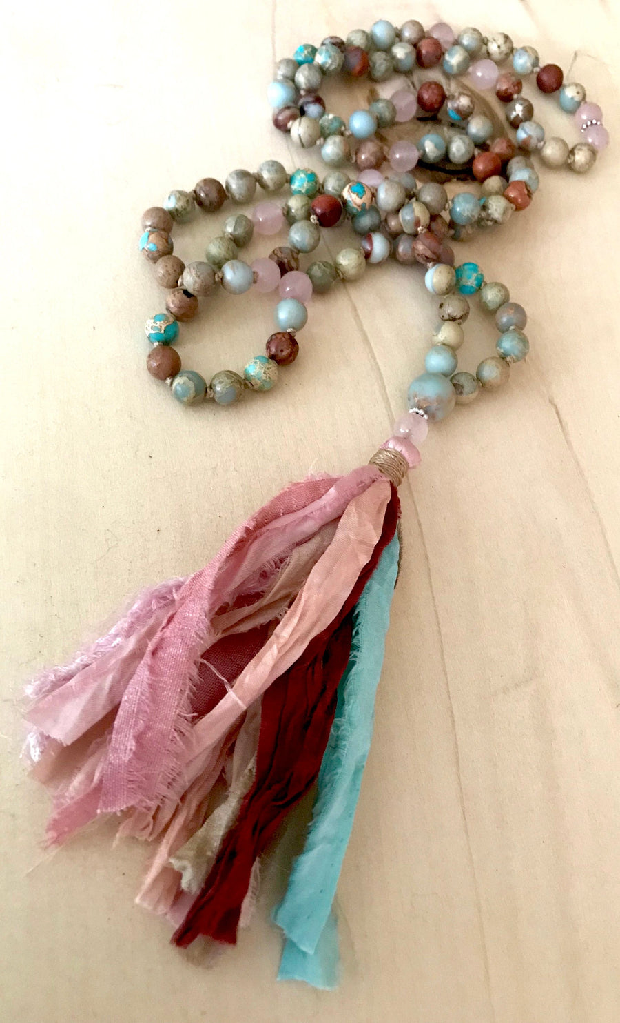 Breast Cancer Survivor African Opal and Rose Quartz Healing Mala Prayer Beads for Healing, Strength and Self Love