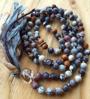 BOHEMIAN Porcelain Jasper & Sandalwood Knotted Mala Necklace for Balance and Grounding