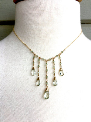 Green Amethyst (Prasiolite) Waterfall Necklace Wire Wrapped 14K Gold Fill