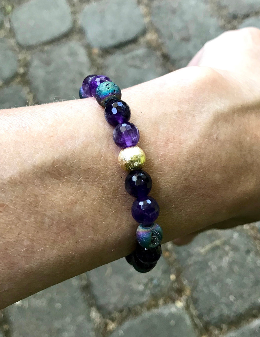 Amethyst and Druzy Stretch Stacking Bracelet for Clairvoyance and Enlightenment