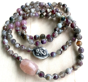 Remover of Obstacles with this Knotted Tourmaline Bracelet finished with a Faceted Morganite Guru Bead and a Rajasthan Ganesh
