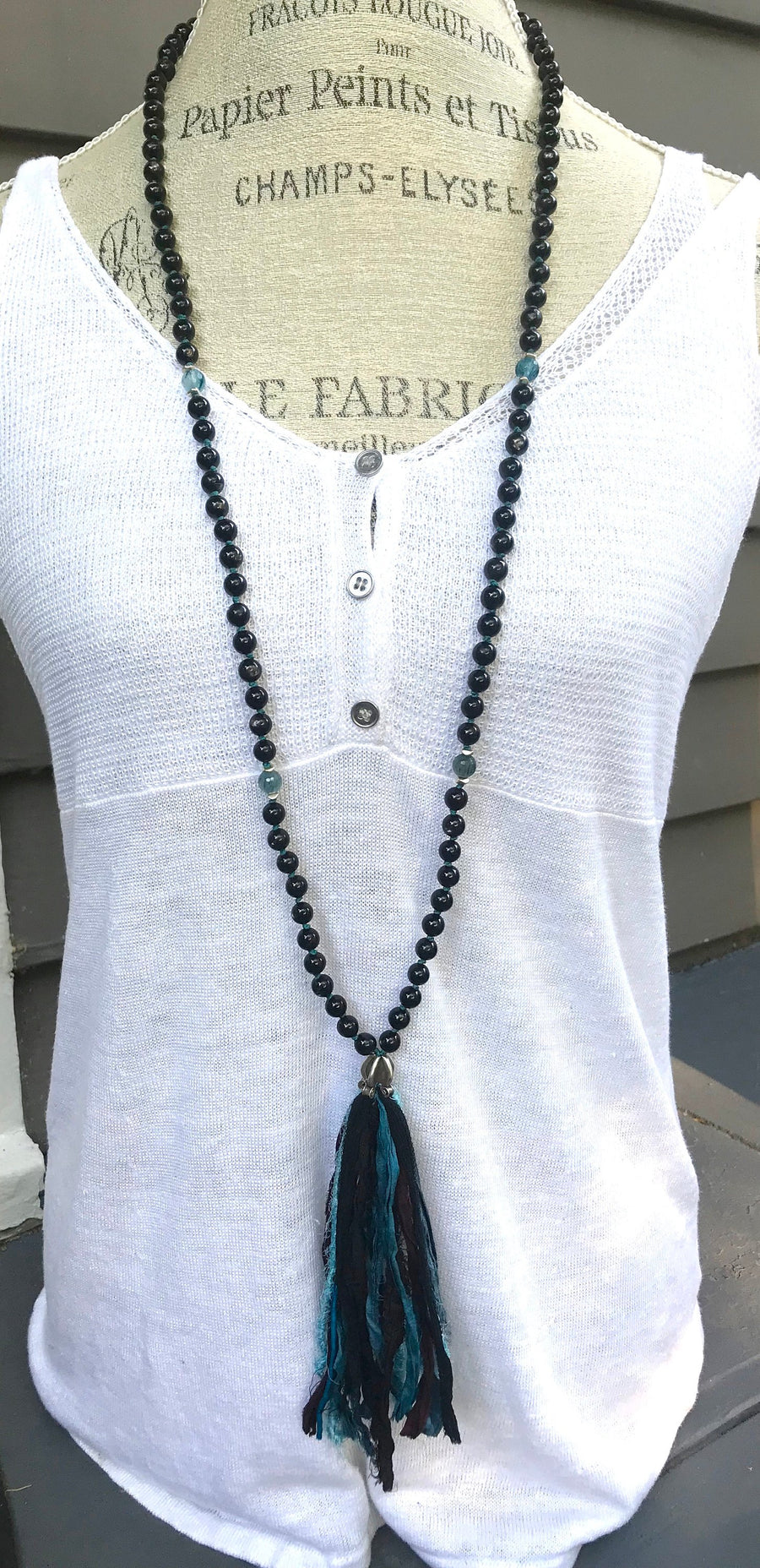 Boho Mala Beads Hypersthene and Blue Rutilated Quartz Long Tassel Necklace for Emotional Balance and Meditation