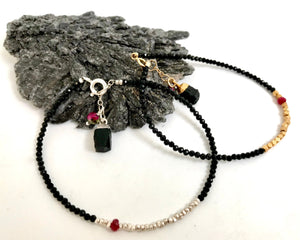 Dainty Black Spinel, Ruby and Thai Silver or Gold Minimalistl Bracelet