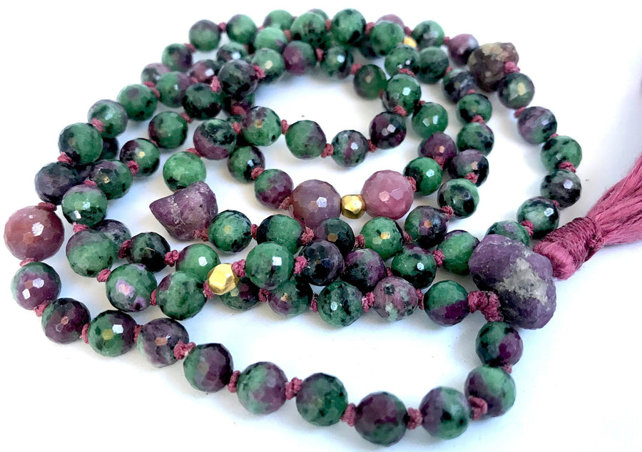 Ruby Mala Necklace Ruby Zoisite Mala Beads 18K Gold Tassel Necklace Boho Jewelry Heart Chakra Healing Gemstone Yoga & Meditation Gift