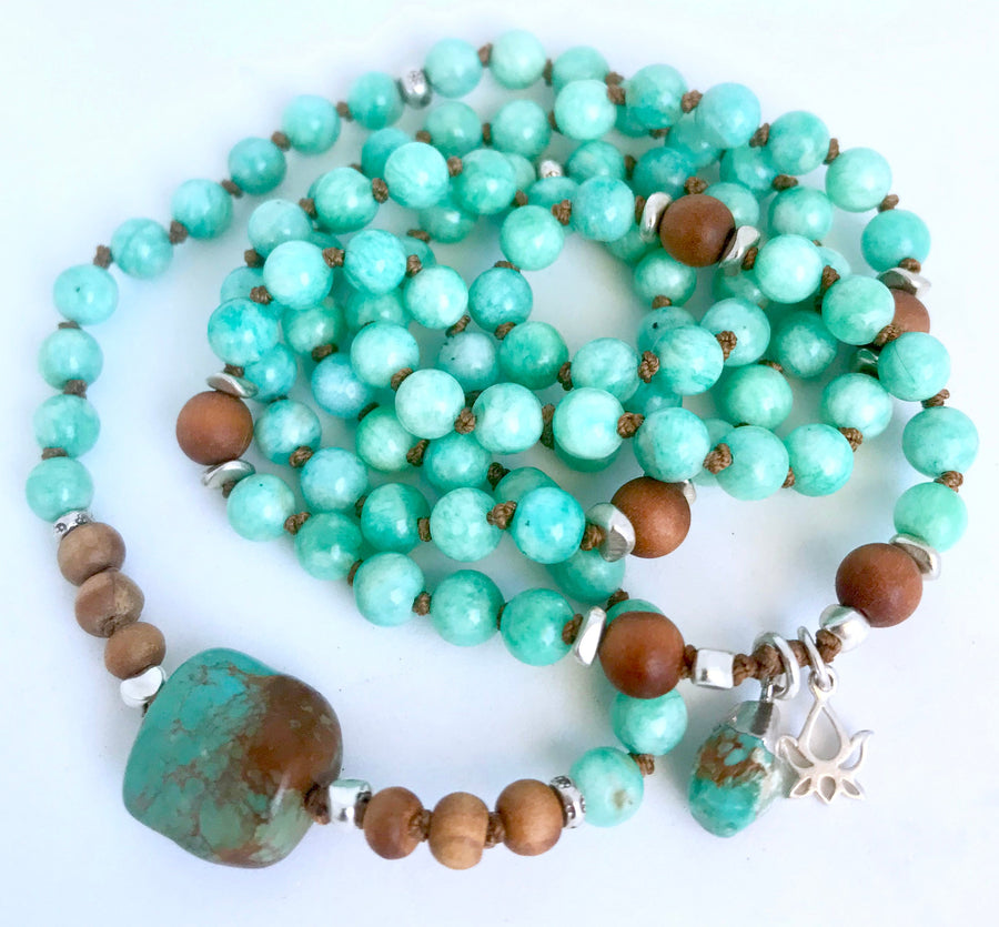 Mala Beads for Courage, Truth, Integrity and Protection, Knotted Amazonite and Turquoise Mala Bracelet