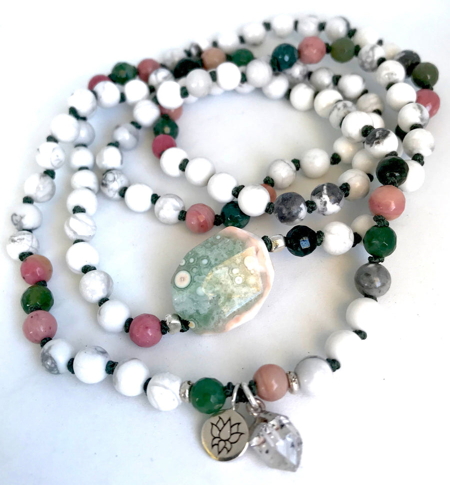 Howlite, Ocean Jasper, Rhodonite and Herkimer Diamond Beaded Infinity 108 Mala Bracelet for Confidence and Emotional Healing