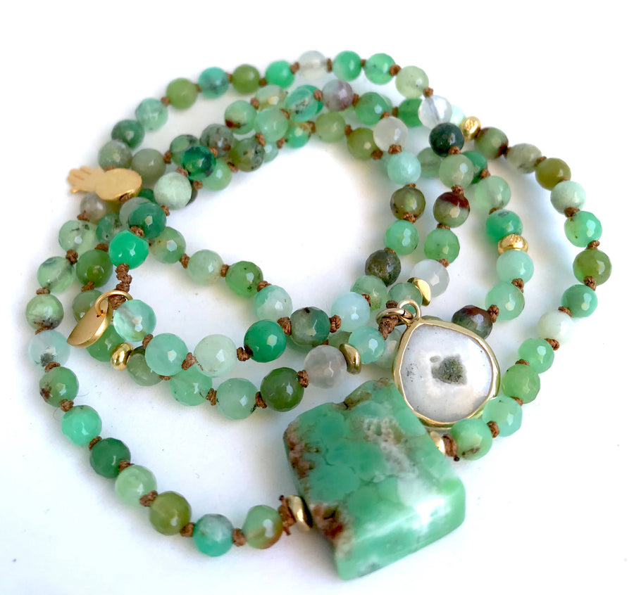 108 Chrysoprase Beaded Charm Bracelet with Solar Quartz a Sterling Silver Lotus for Happiness and Harmony