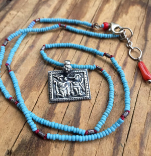 Ganesh Hippie Necklace Hand Knotted Seed Beads Yoga Gift with Meaning