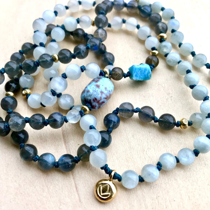 Dominican Larimar Labradorite and Blue Moonstone Mala Necklace For Intuition and Harmony