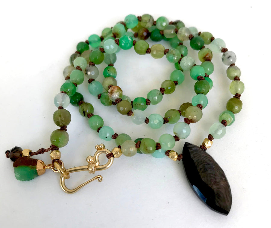 Knotted Chrysoprase Necklace, Hypersthene Pendant, Chrysoprase Beaded Bracelet, Charm Bracelet