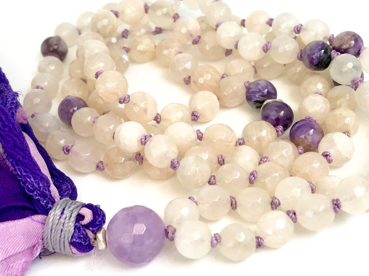 Celestial Mala Beads for Stress Relief, Intuition and Protection