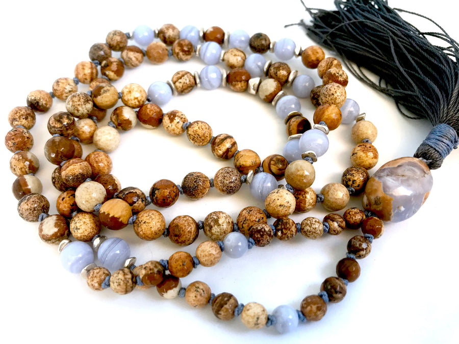 Boho Picture Jasper and Blue Lace Agate Mala Necklace for Stress Relief and Protection