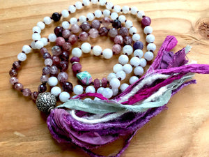 Moon Goddess Mala Beads Moonstone Mala Necklace Ruby Cherry Quartz Ruby Zoisite Conch 8 Auspicious Symbols Ashtamangala Prayer Beads
