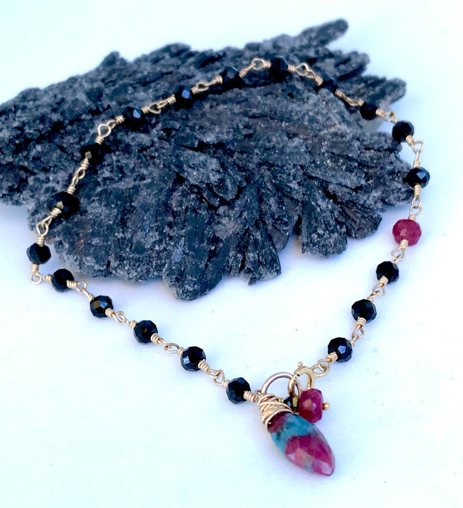 Delicate Black Spinel Bracelet Wire Wrapped with Ruby Zoisite and Ruby