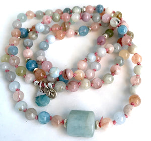 108 Mala Beads Knotted Aquamarine Mala Charm Bracelet with Thai Silver, a Thai Lotus and Raw Aquamarine Charm