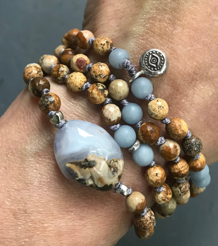 Blue Chalcedony, Picture Jasper and Angelite 108 Knotted Mala Bracelet for Protection and Calmness