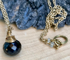 Delicate Black Onyx Briolette Pendant Necklace for Grounding and Self Esteem