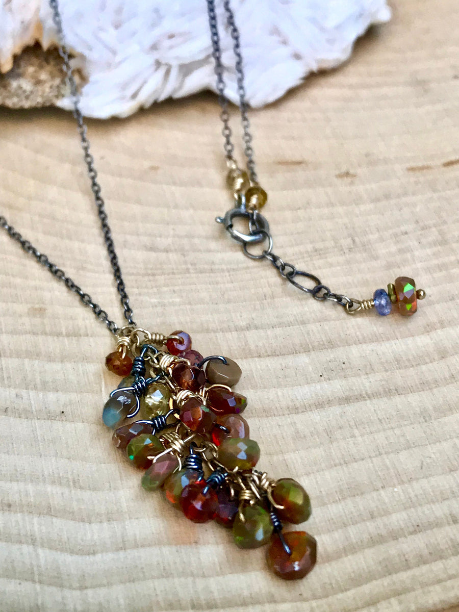 Genuine Fire Opal Necklace October Birthstone Mixed Metal, Welo Opal Dangle Necklace Gift for Women