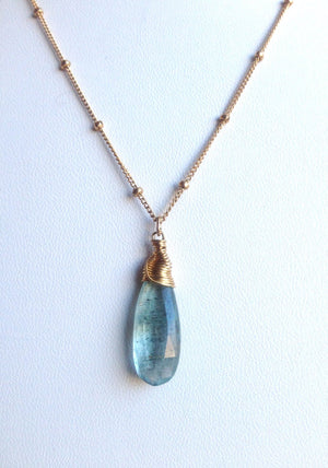 Faceted Teardrop Moss Aquamarine Briolette Necklace Supports the Throat Chakra