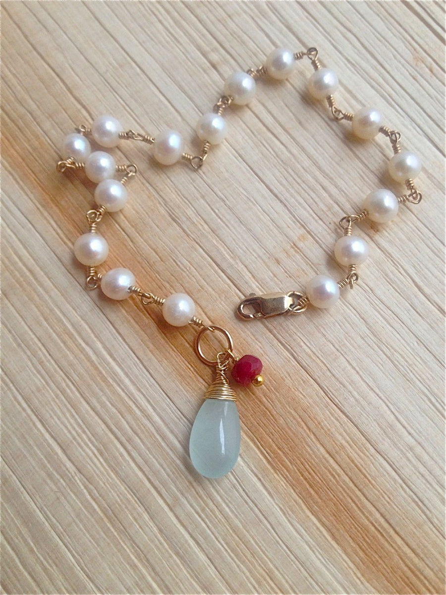 Freshwater Pearl and Aquamarine Bracelet for Creativity, Awareness, Wisdom and Creativity
