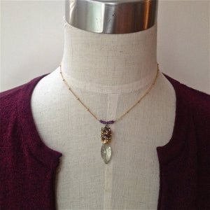 Green and Purple Amethyst Bar Cluster Necklace Perfect Gift For Her February Birthstone