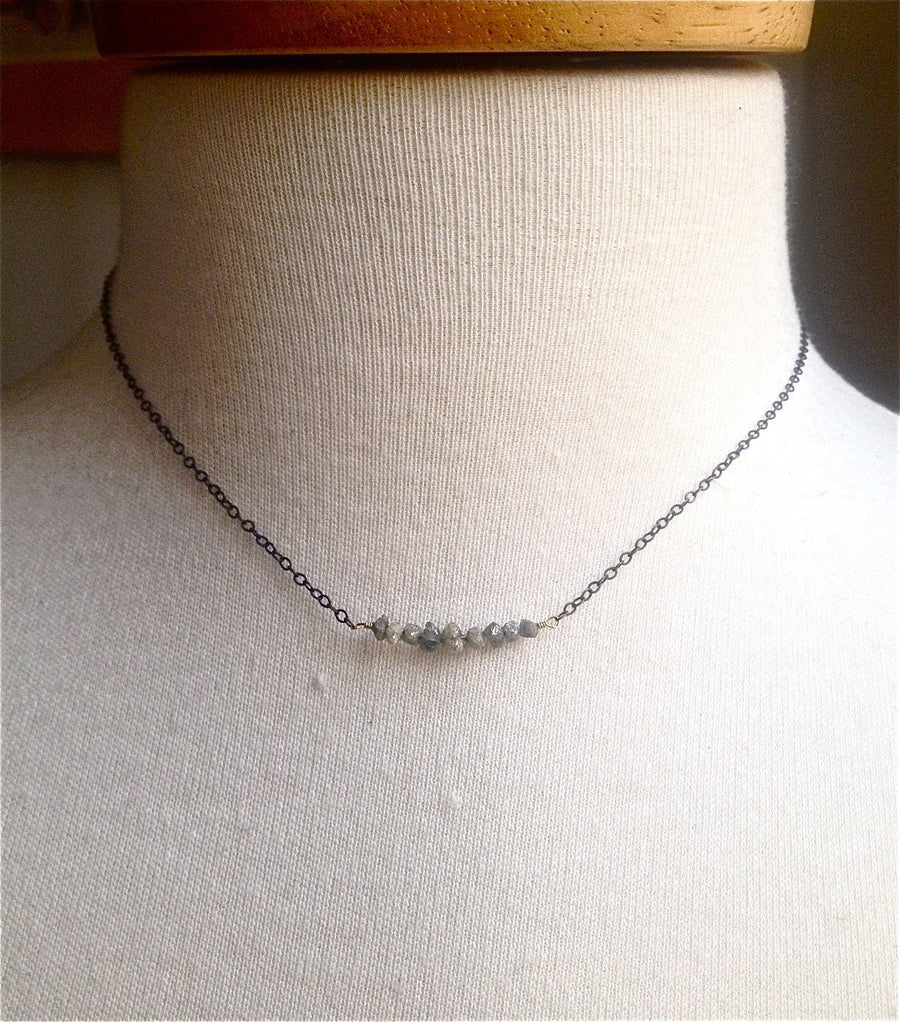 RAW DIAMOND NECKLACE ,  Rough Diamond Jewelry , Bar Necklace April Birthstone Gift For Her Girlfriend Gift