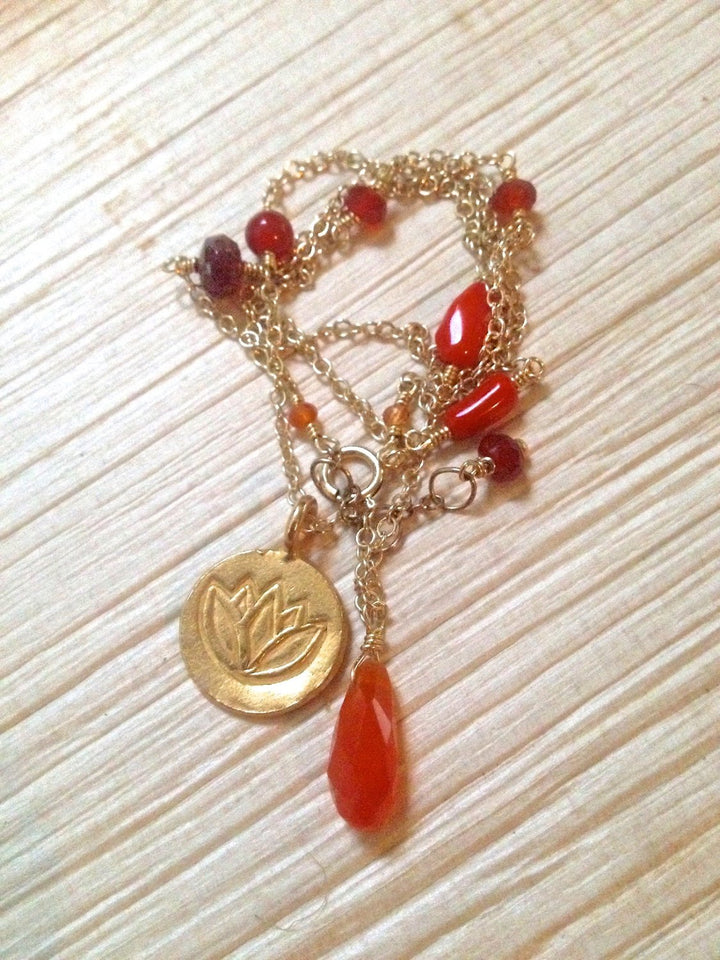 Svadhisthana Chakra Necklace Sacral Chakra Jewelry Orange Gemstone Gold Lotus Endurance Vitality Coral Carnelian