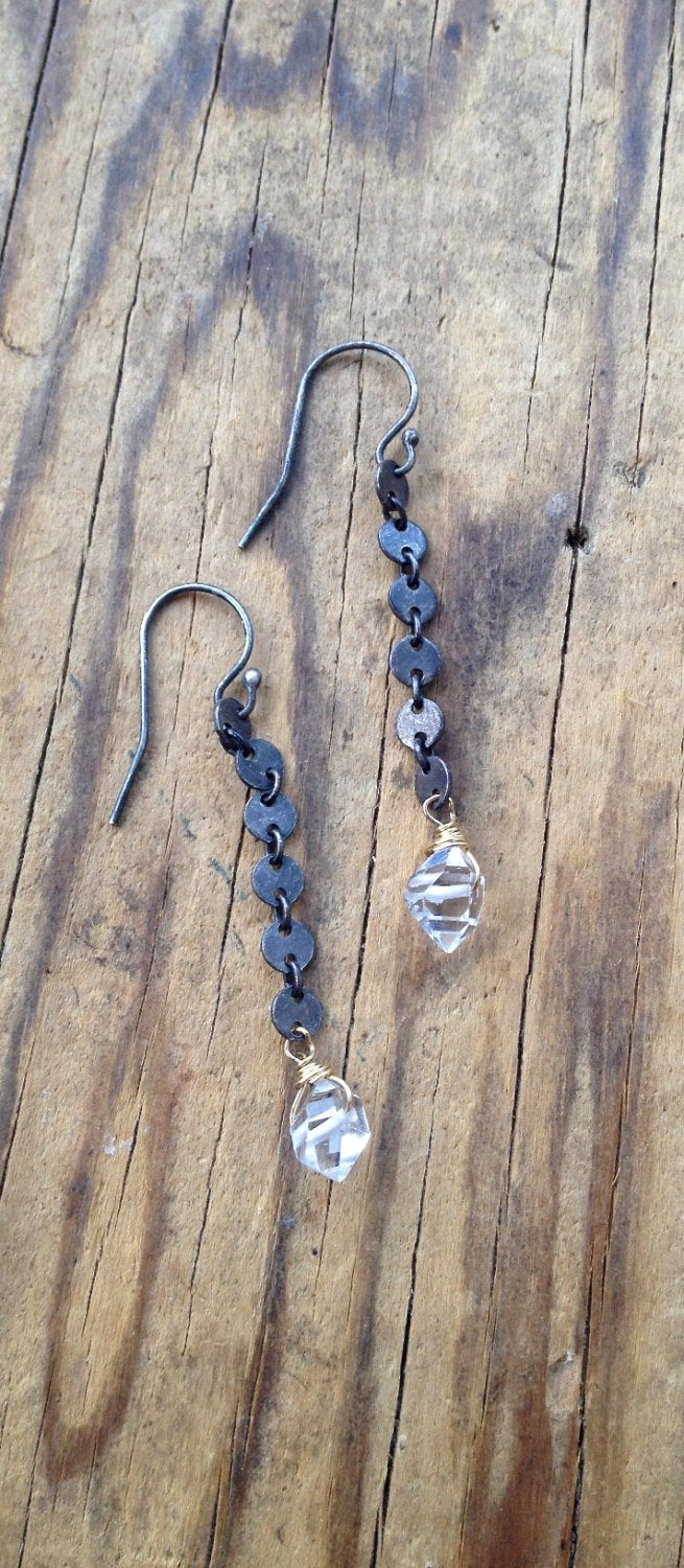 Herkimer Diamond Dangle Earrings for Healing, Detox and to clear Negative Energy Mixed Metal April Birthstone