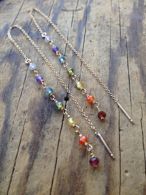 7 Chakra Threader Earrings for Yoga And Aura Cleansing