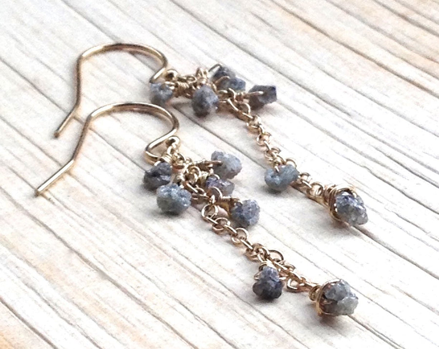 Raw (Rough) Diamond Dangle Earrings Holiday Gift For Women