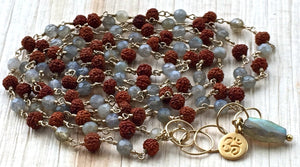 Boho 108 Wire Wrapped Rosary Style Labradorite and Rudraksha Long Mala Necklace for Balance, Clarity and Strength