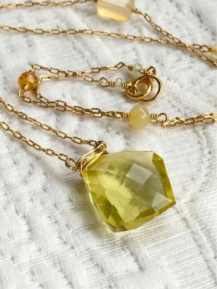 Citrine Solar Plexus Chakra Pendant Necklace for Self Confidence, Positivity and Success