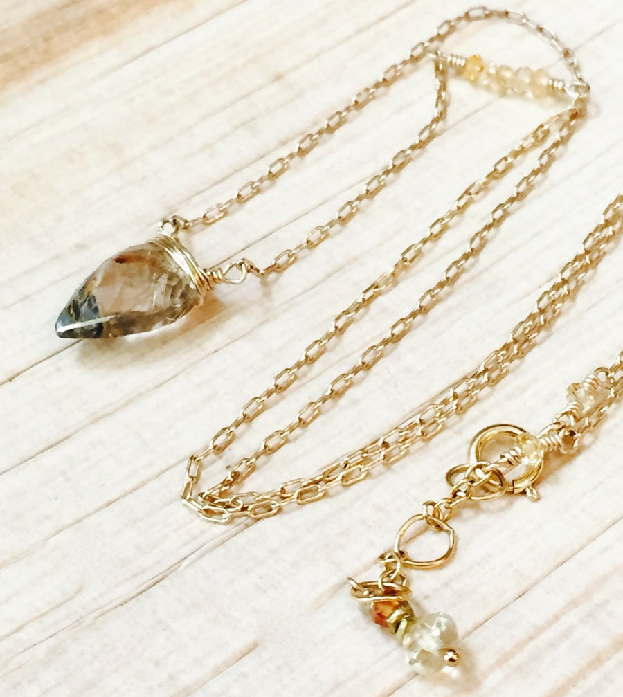 Rutilated Quartz Necklace  Arrowhead Pendant  Solar Plexus Chakra Jewelry Wedding Jewelry Yoga Gift