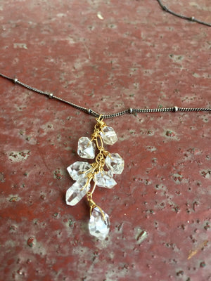 Herkimer Diamond and Ruby Mixed Metal Cascade Necklace for Spiritual Awareness