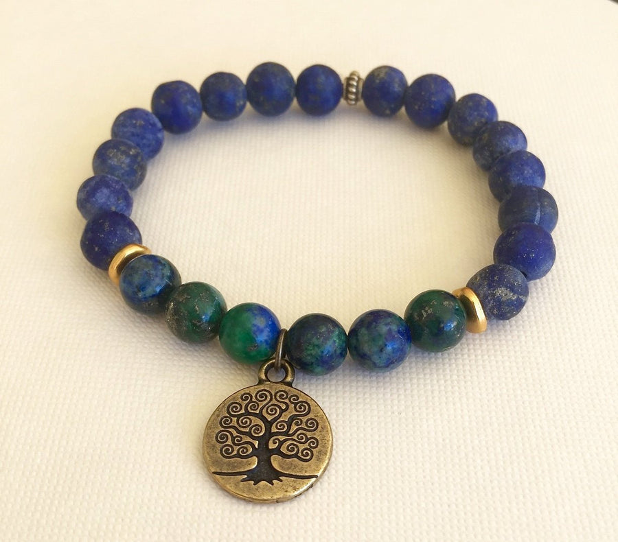 Lapis Beaded Bracelet Azurite Chrysocolla Mala Bracelet Tree of Life Charm Stretch Bracelet Unisex Bracelet Third Eye Chakra Yoga Jewelry