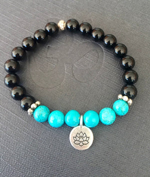 Onyx & Turquoise Stretch Bracelet with Lotus Charm Bracelet Mala for Stress Relief and Protection
