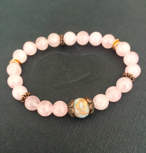 Rose Quartz and African Opal Stretch Mala Bracelet for Self Love and Compassion to Support the Heart Chakra