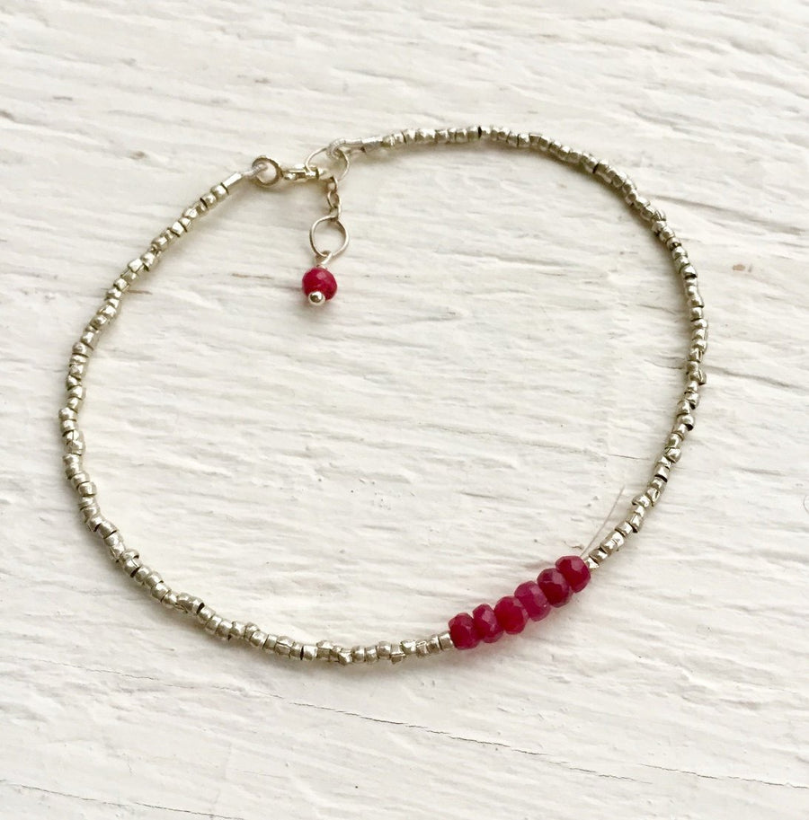 July Birthstone Gift Genuine Ruby Bracelet Gift For Wife Delicate Bracelet Gift For Women Holiday Present