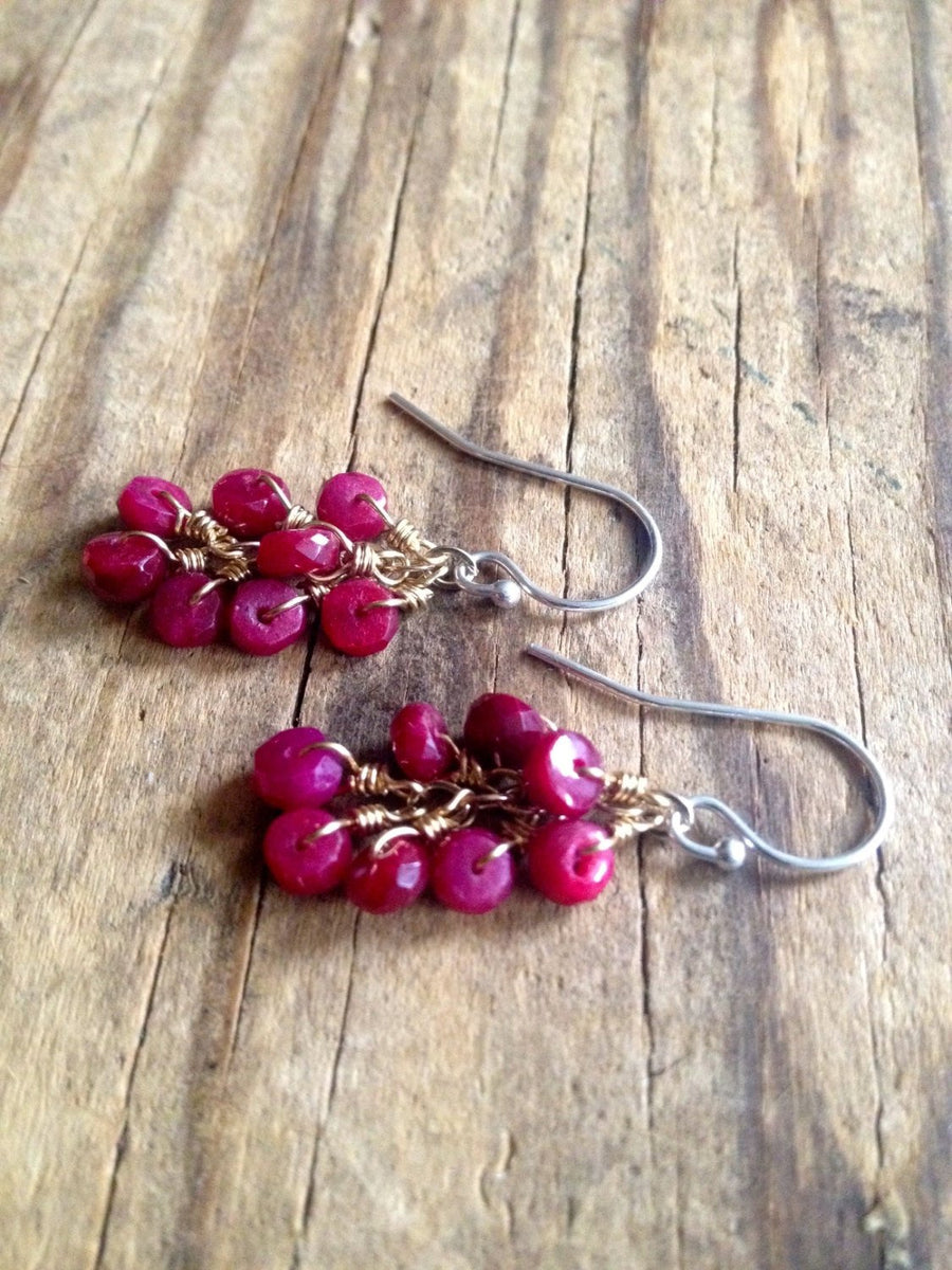 Genuine Mixed Metal Ruby Dangle Cluster Earrings for Healing, Happiness and Prosperity