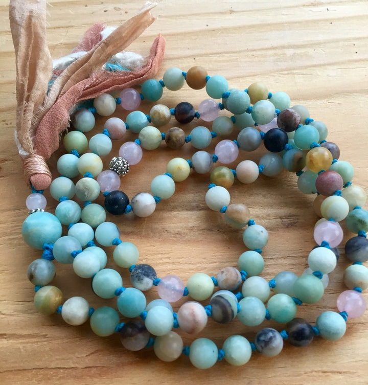 Amazonite and Rose Quartz Mala Necklace to open the Heart Chakra