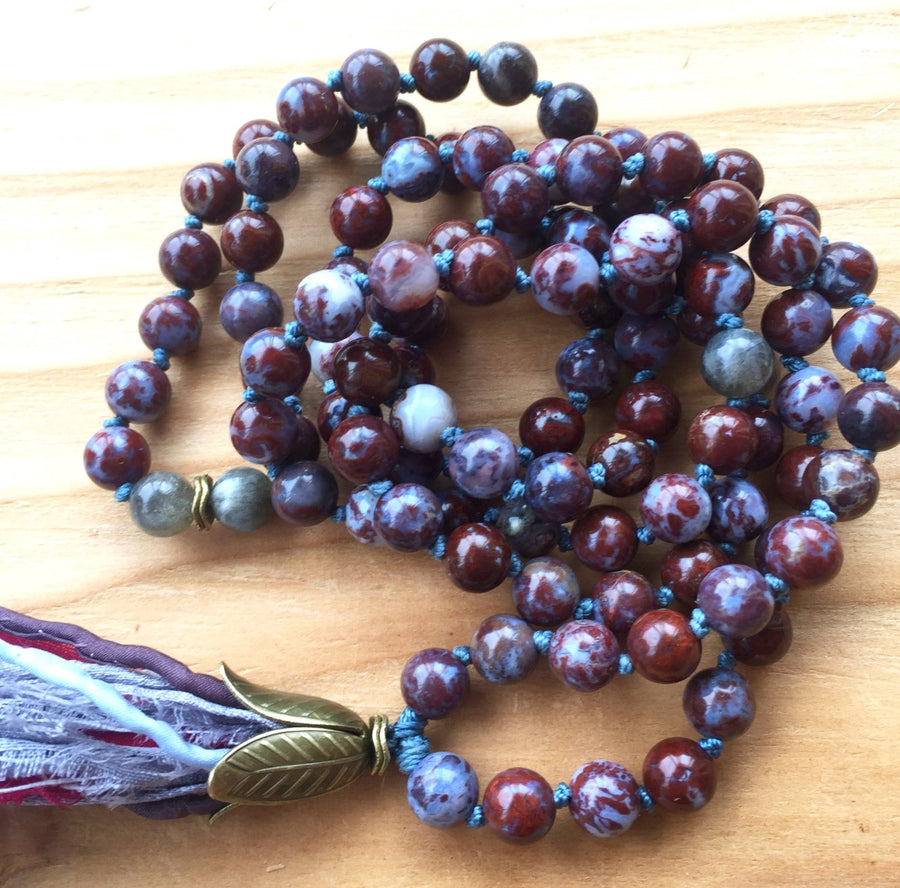 Red Lightning (Fire) Agate and Labradorite 108 Mala Necklace for Grounding, Emotional Healing, Intuition, Strength and Clarity