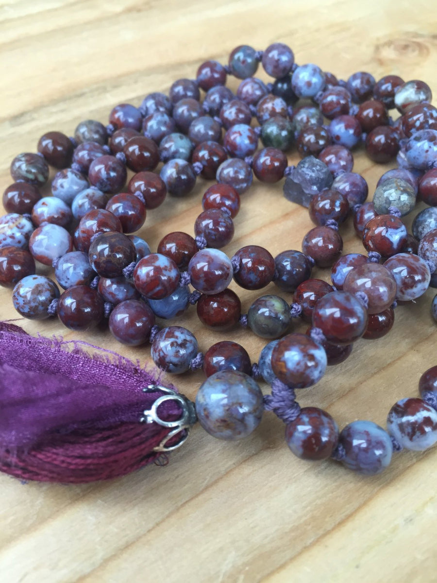 Root Chakra Mala Beads Tanzanite Mala Necklace Red Lightning Agate Long Tassel Necklace, Stress Relief