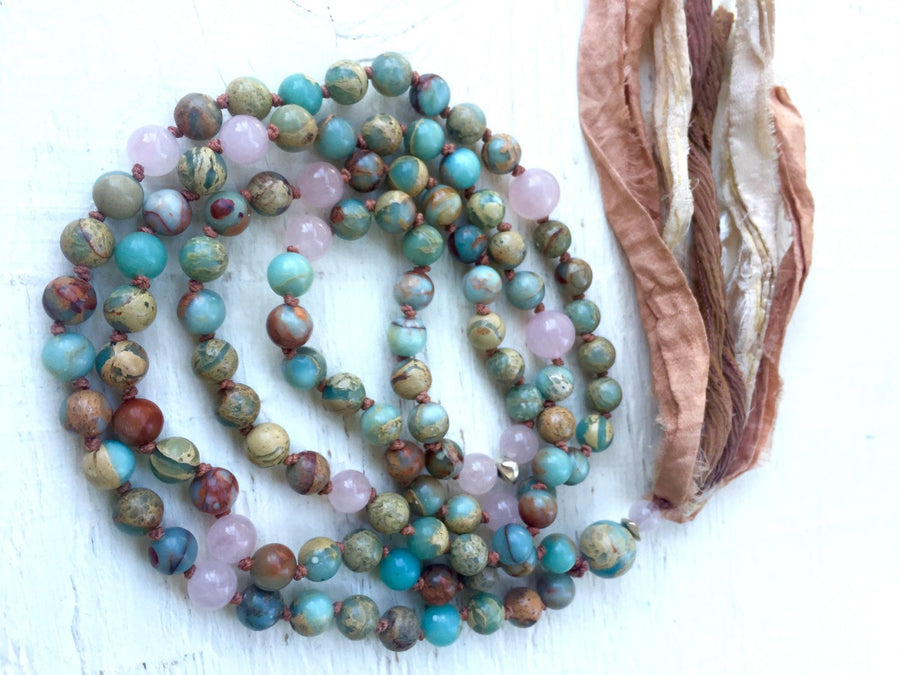 Boho Long Tassel African Opal and Rose Quartz Prayer Beads for Meditation and Spiritual Awareness