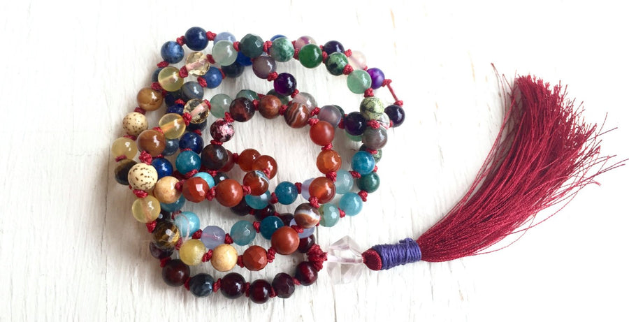 7 Chakra Mala Necklace Herkimer Diamond Red String Kabbalah for Protection and Chakra Healing