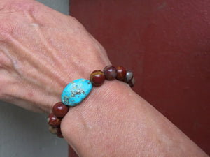Bohemian Jasper and Turquoise Mala Bracelet for Grounding and Protection