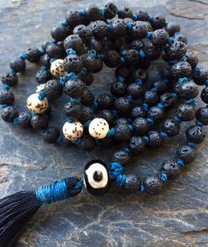 Essential Oil Diffuser Black Lava Mala Necklace for Grounding and Change