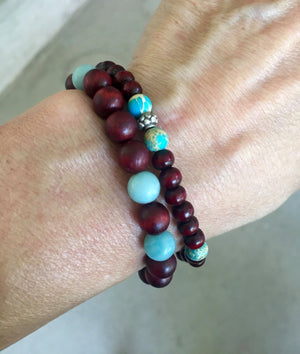 Rosewood and Amazonite Stretch Mala Bracelet for Health, Wellness and Balance