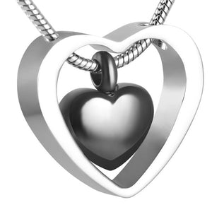 Double Hearts Design Cremation Urn Necklace